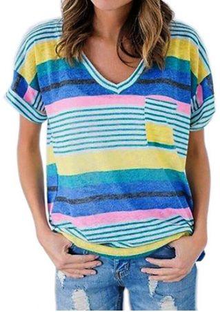Striped Pocket V-Neck Short Sleeve T-Shirt