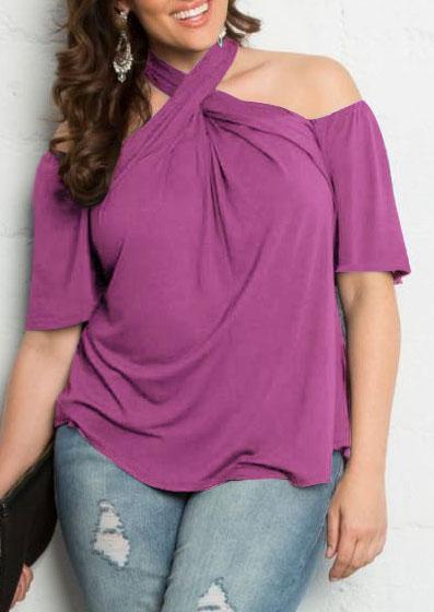 11c93e5b5dc Plus Size Solid Cross Cold Shoulder Blouse - Fairyseason