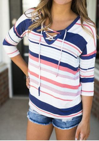 Multicolor Striped Lace Up T-Shirt
