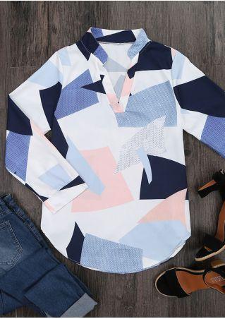 Color Block V-Neck Blouse Color