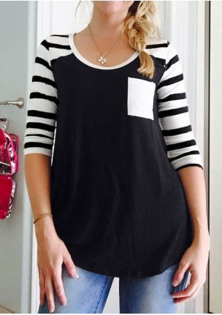 Striped Splicing Pocket Blouse without Necklace