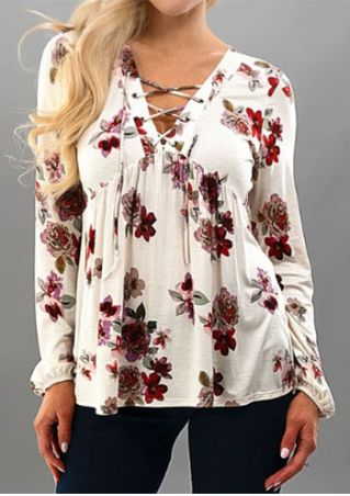 Floral Lace Up Long Sleeve Blouse