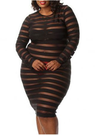 Plus Size Striped See-Through O-Neck Long Sleeve Sleepwear