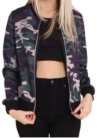 Camouflage Printed Long Sleeve Jacket