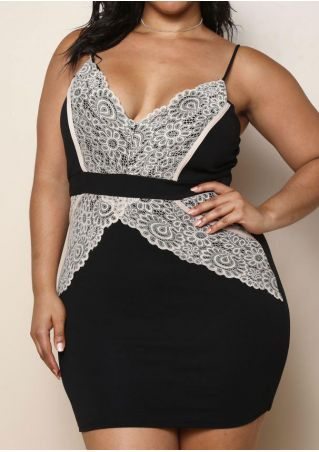 Plus Size Lace Floral Splicing Spaghetti Strap Bodycon Dress without Necklace