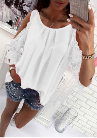 Solid Lace Splicing Cold Shoulder Blouse without Necklace