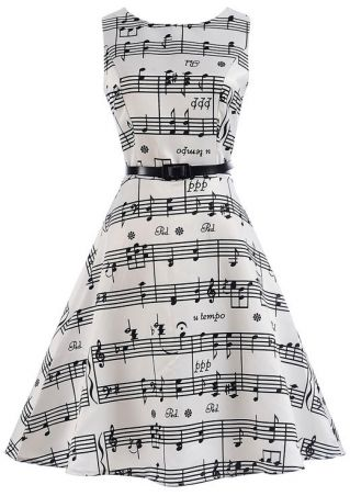 Musical Note O-Neck Casual Dress