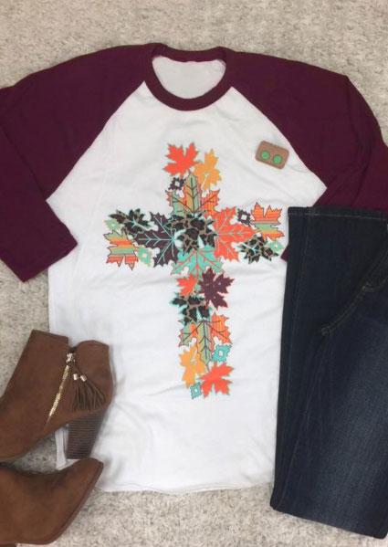 Fall Leaves Cross Baseball T Shirt Fairyseason