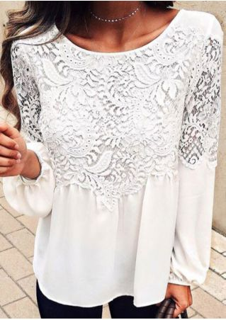 Solid Lace Splicing Blouse without Necklace