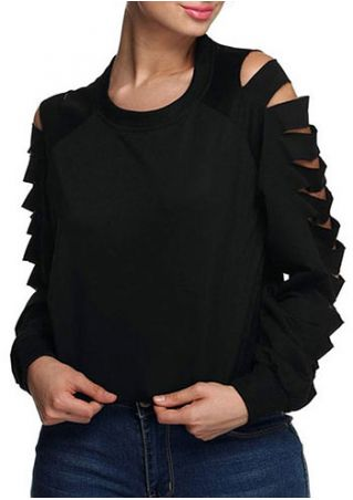 Solid Hollow Out O-Neck Blouse