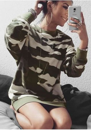 Camouflage Printed Long Sleeve Sweatshirt without Necklace Camouflage