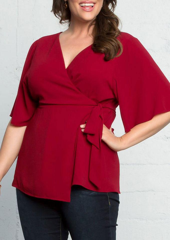 3797f0e3e05 Plus Size Solid Tie V-Neck Blouse - Fairyseason