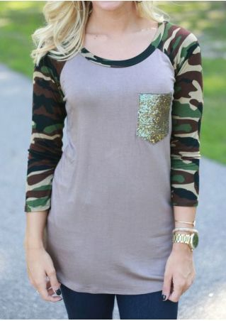 Camouflage Printed Sequined Baseball T-Shirt Camouflage