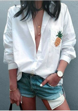 Pineapple Printed Button Long Sleeve Shirt without Necklace
