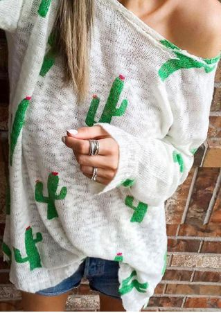 Cactus Printed Long Sleeve Sweater Cactus