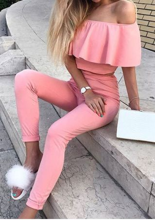Solid Off Shoulder Crop Top and Pants Set