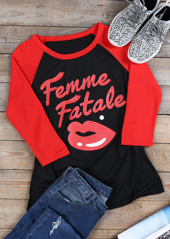 femme fatale lips baseball t shirt fairyseason. Black Bedroom Furniture Sets. Home Design Ideas