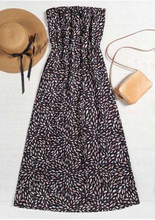 Printed Strapless Sleeveless Maxi Dress