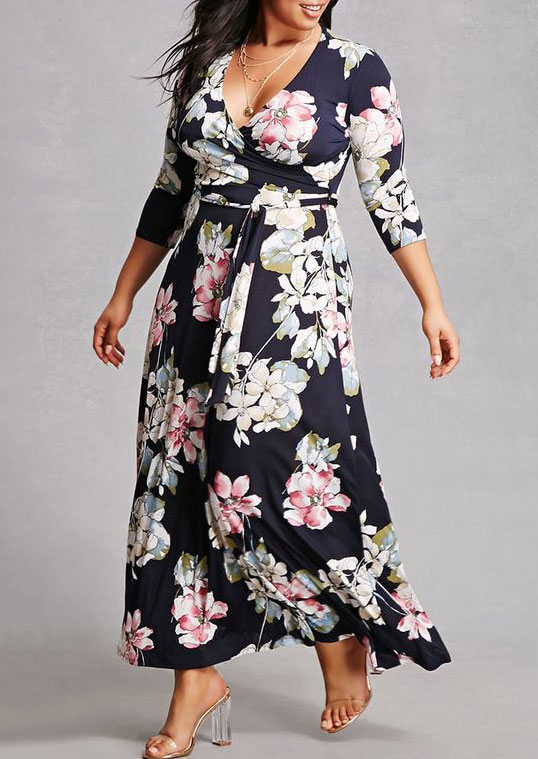 Plus Size Floral Maxi Dress without Necklace - Fairyseason 313e40939