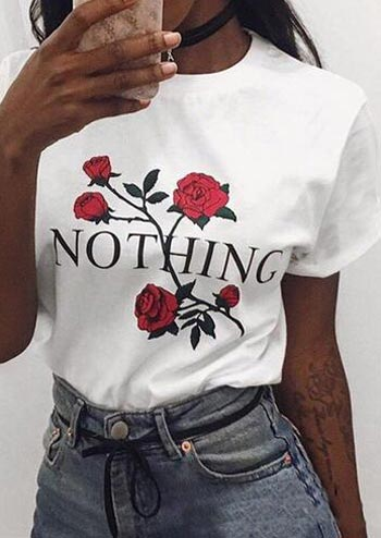 Floral Nothing O-Neck T-Shirt without Necklace