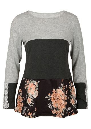 Floral Lace Splicing Long Sleeve Blouse