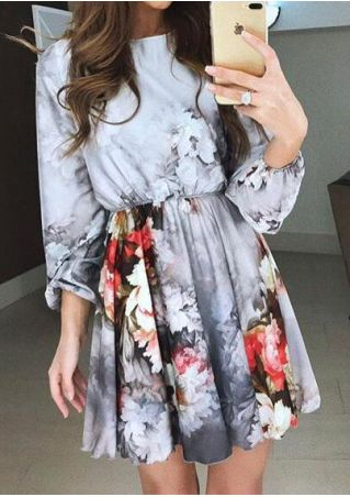 Floral Printed O-Neck Mini Dress