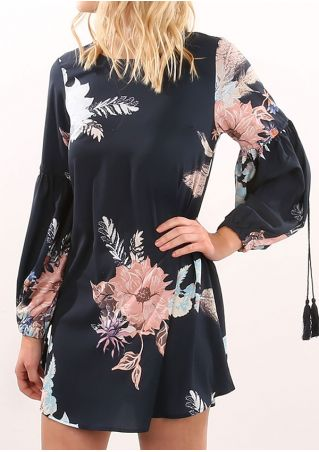 Floral Tassel O-Neck Mini Dress