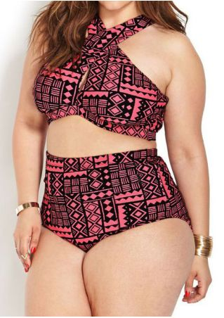 Plus Size Geometric High Waist Bikini Set