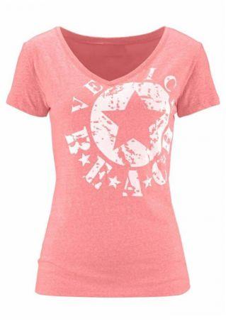 Beach Star V-Neck Short Sleeve T-Shirt