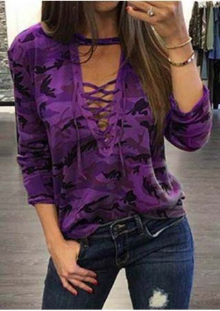 Camouflage Printed Lace Up Blouse Camouflage
