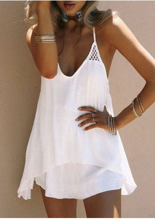 Solid Hollow Out Mini Dress without Necklace