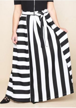 Plus Size Asymmetric Striped Long Skirt with Belt Plus