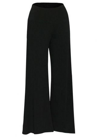 Plus Size Solid Elastic Waist Wide Leg Pants