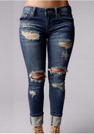 Ripped Hollow Out Denim Pants