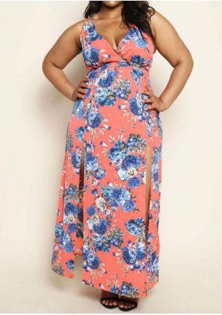 Plus Size Floral Slit Back Cross Maxi Dress