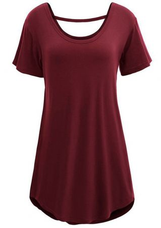 Plus Size Solid O-Neck Short Sleeve Mini Dress