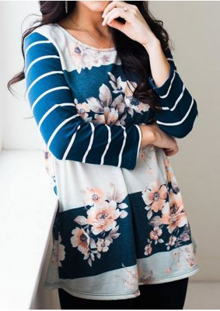 Floral Striped Splicing T-Shirt without Necklace