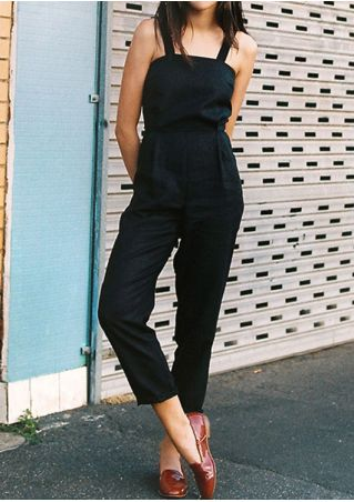 Solid Adjustable Strap Hole Jumpsuit