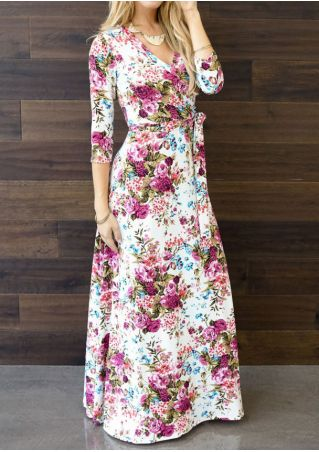 Floral V-Neck Maxi Dress without Necklace