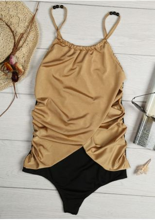 Color Block Splicing Ruched Swimsuit Color