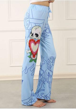 Floral Skull Heart Drawstring Wide Leg Pants