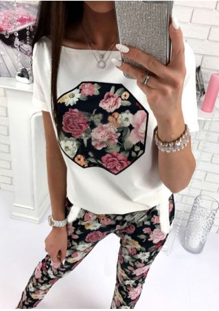 Floral T-Shirt and Pants Set without Necklace
