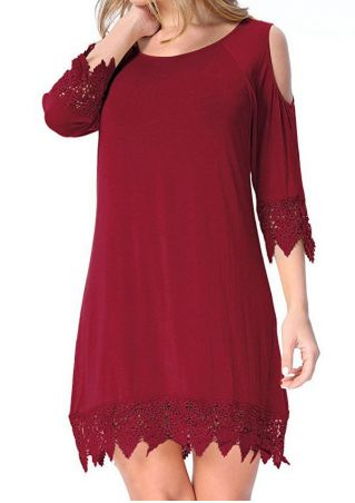 Solid Lace Splicing Cold Shoulder Mini Dress