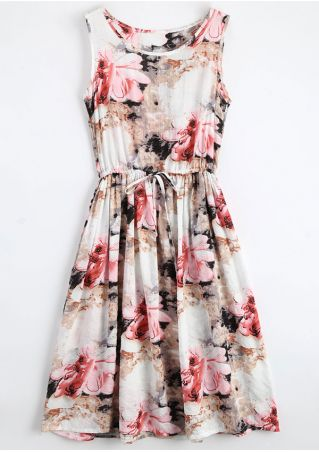 Floral Drawstring Pocket O-Neck Casual Dress
