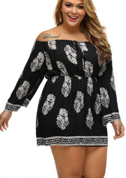 a01ba94a485 Plus Size Printed Off Shoulder Mini Dress - Fairyseason
