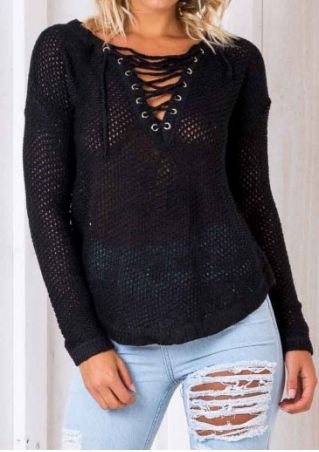 Solid Knitted Lace Up Sweater