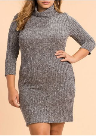 Plus Size Turtleneck Knitted Bodycon Dress