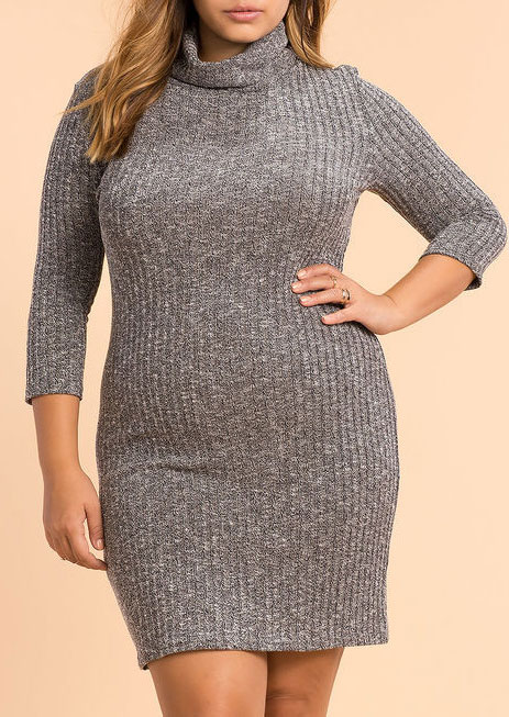 Plus Size Turtleneck Knitted Bodycon Dress - Fairyseason