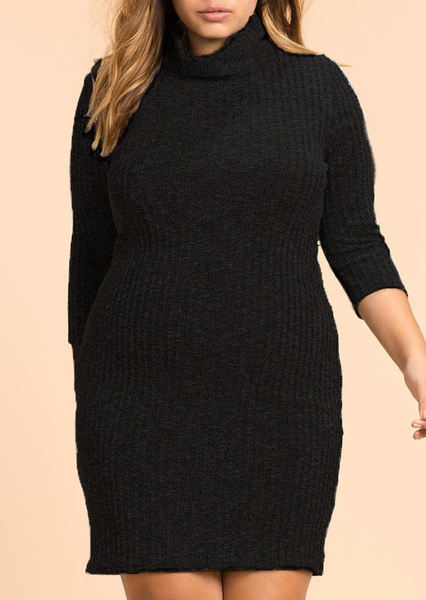 Plus Size Turtleneck Knitted Bodycon Dress - Fairyseason