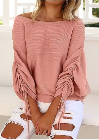 Solid Batwing Sleeve O-Neck Sweater Solid